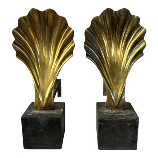 Vintage Brass Shell Andirons - a Pair For Sale