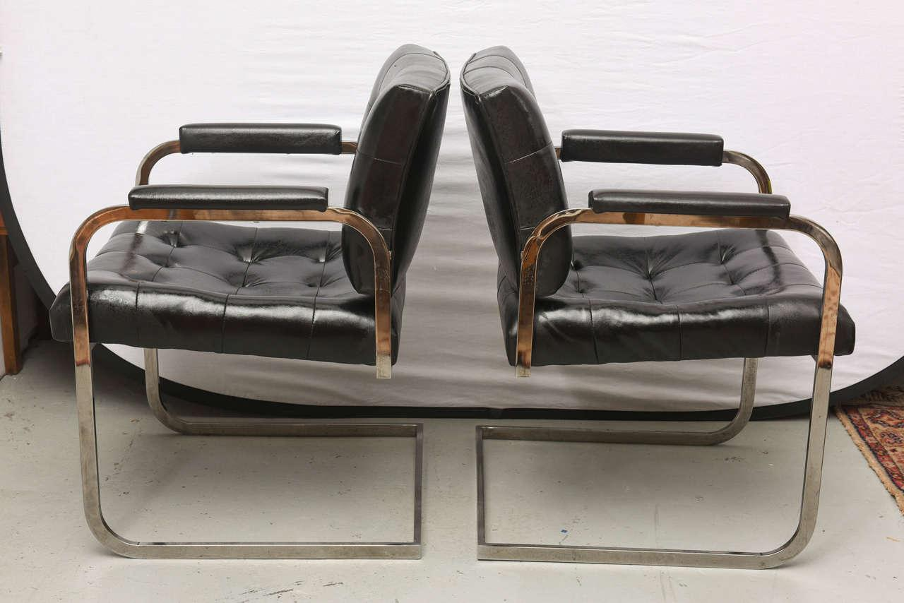 Patrician Milo Baughman Style Chrome Lounge Chairs By Patrician Furniture,  USA, 1960s For Sale