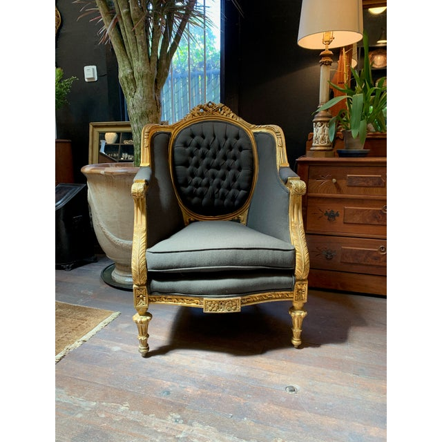 Blue 1900s Baroque Tufted Chair For Sale - Image 8 of 8