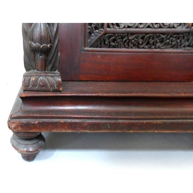 Brown 19th Century Burmese Over-Scale Carved Rosewood Anglo-Indian Sideboard For Sale - Image 8 of 11