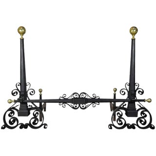 Antique Hand-Wrought Iron and Brass Arts & Crafts Andirons After Samuel Yellin For Sale