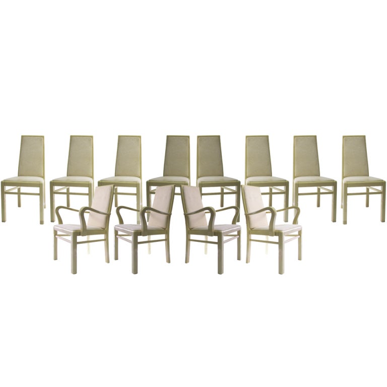 Italian Eggshell Lacquer Dining Chairs Set Of 12 Chairish