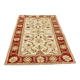 """Turkish Hand Knotted Oushak Rug-4'1'x6'5"""" For Sale"""