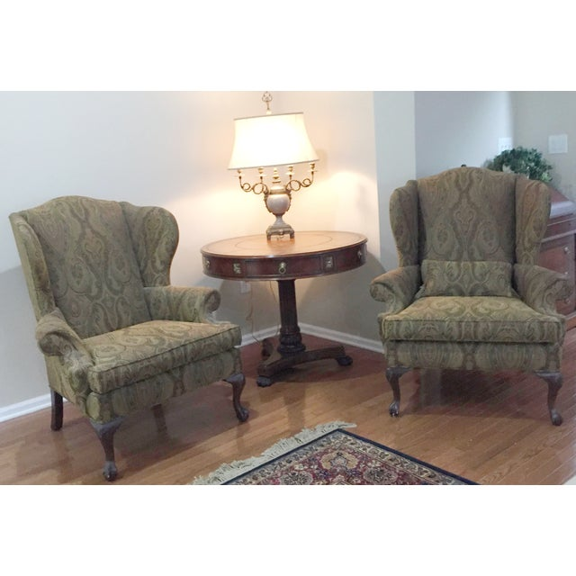 English Traditional Ethan Allen Green Paisely Wingback Chairs - a Pair For Sale - Image 3 of 3