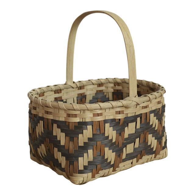 Carol Welch Cherokee White Oak Small Market Basket For Sale