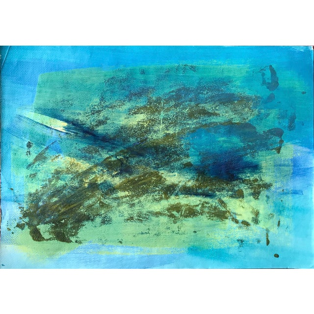 "Acrylic 1980s Original Bay Area Artist ""Blue Green Pt. 1"" For Sale - Image 7 of 7"