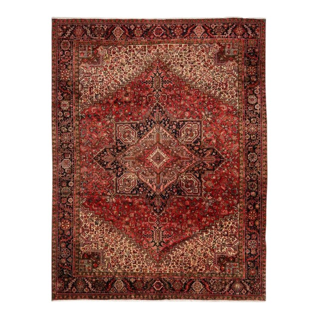 Vintage Persian Heriz Rug with Mid-Century Modern Style For Sale