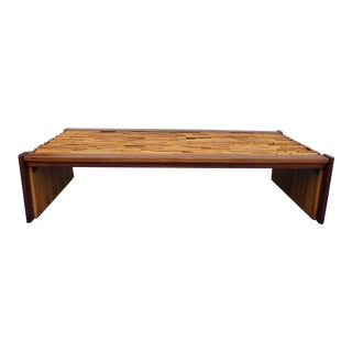 1960's Percival Lafer Geometric Wood Stacked Architectural Coffee Table For Sale
