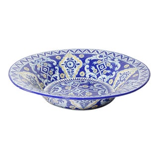 Oversized Blue and White Mexican Talavera Glazed Ceramic Bowl For Sale