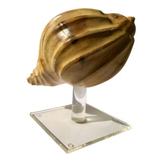 Vintage Wooden Conch Shell on Lucite by Sarreid For Sale