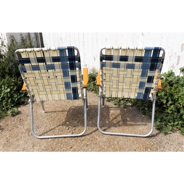 Vintage Aluminum Webbed Folding Lawn or Patio Chairs - A Pair - Image 5 of 9