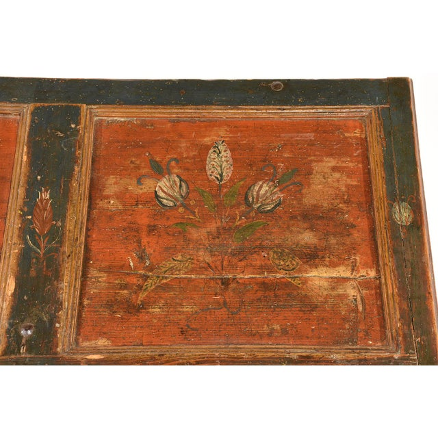 19th Century Scandinavian Polychrome Painted Trunk For Sale - Image 4 of 9