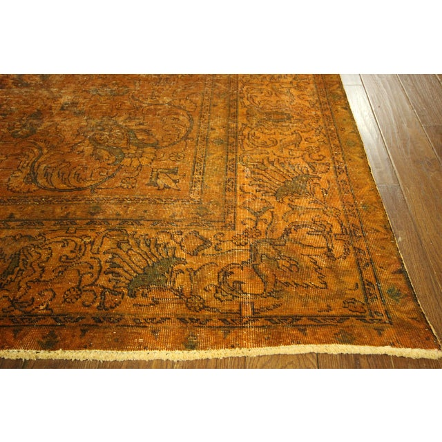 "Orange Tabriz Overdyed Area Rug - 9'10"" X 12'3"" - Image 6 of 10"