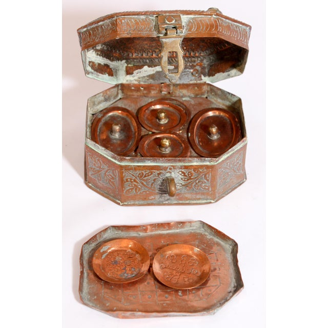 Anglo-Indian Handcrafted Tinned Copper Metal Spices Caddy Box For Sale - Image 11 of 13