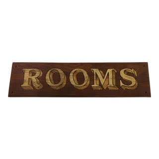 Wood English Rooms Sign