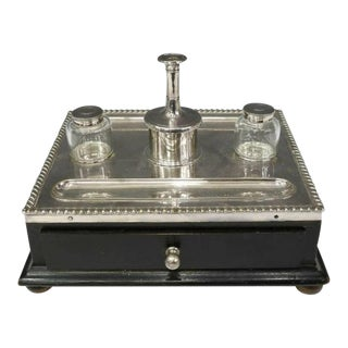 19th Century Victorian English Silverplate Double Inkwell For Sale