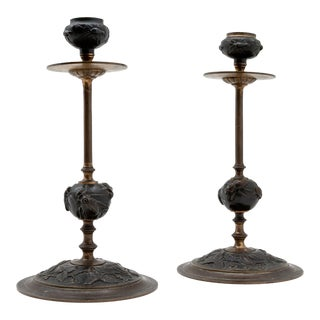 Bronze Candlestick with Insect/Leaf Decoration, French, 19th Century - A Pair For Sale