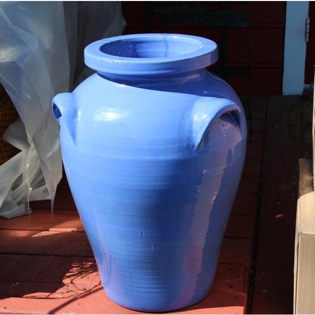 Blue Huge Pickrull Zanesville Norwalk Pot Shop Urn Pottery Arts & Crafts Floor Vase For Sale - Image 8 of 12