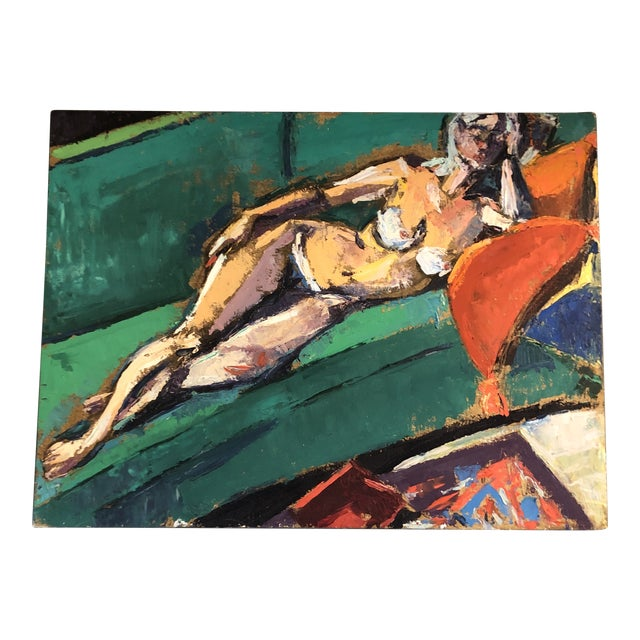 Original Vintage Female Reclining Nude Abstract Painting 1970's For Sale