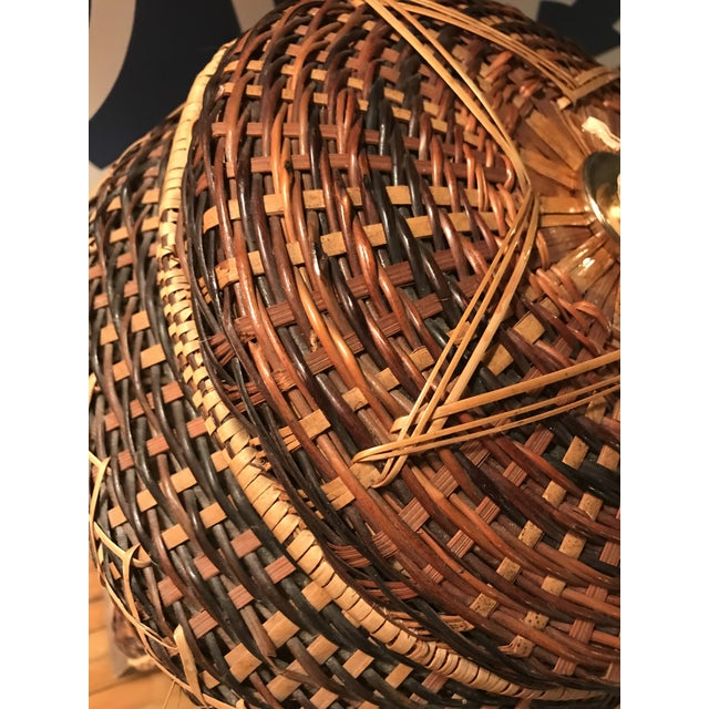 American Classical Vintage Rattan Table Lamp For Sale - Image 3 of 8