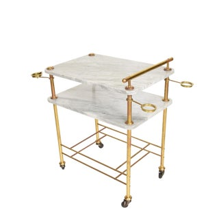 Mid Century Modern Bakery Service Table in Carrara Marble and Brass For Sale