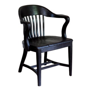 1950s Vintage Black Yakisugi Solid Wood Americana Banker's Club Chair For Sale