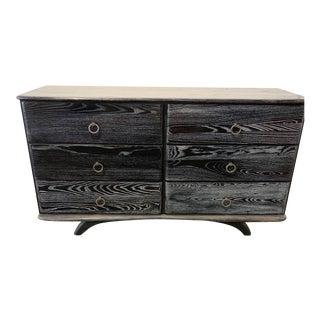 1950s Vintage Ceruse Black 6-Drawer Dresser For Sale