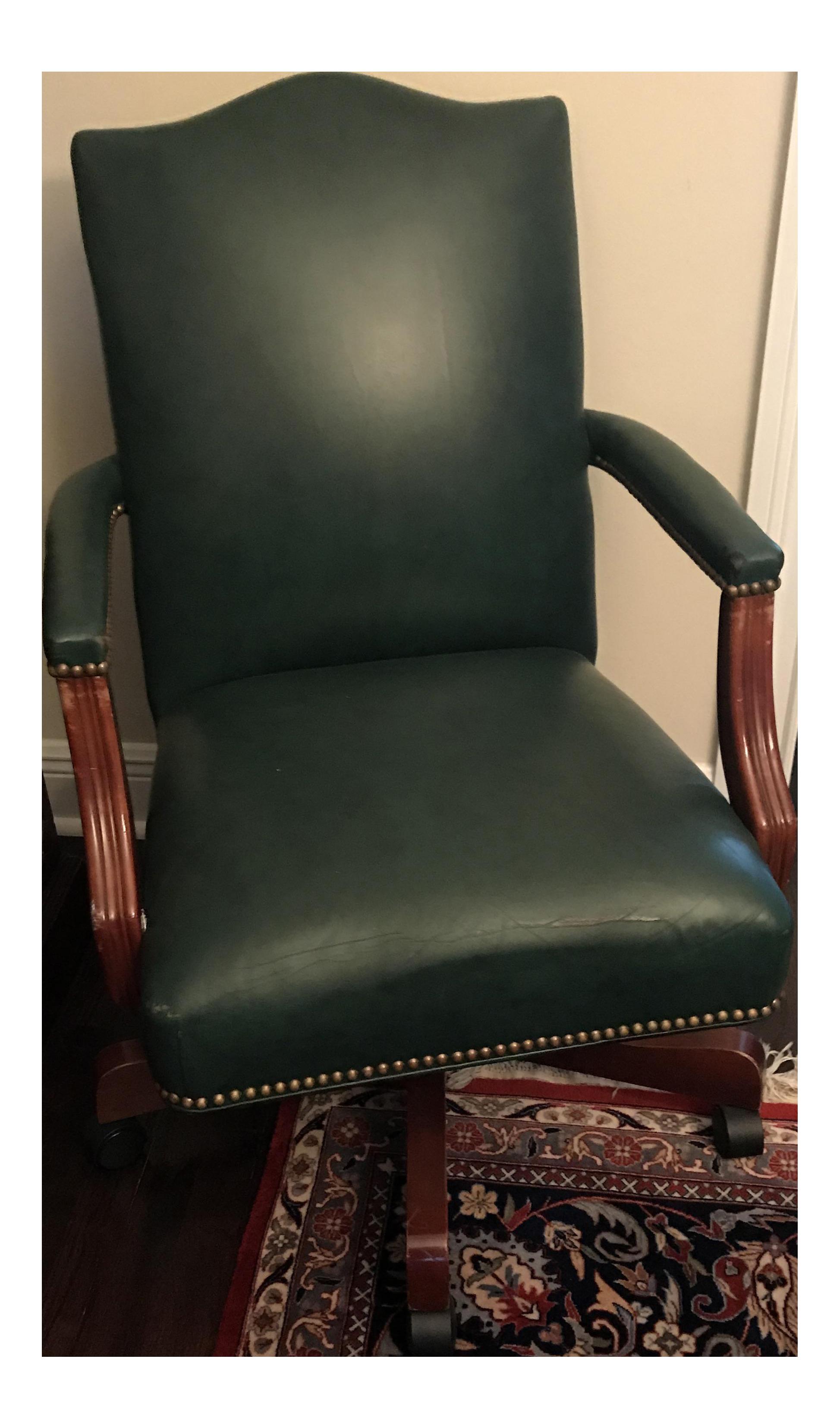 green leather office chair. Ethan Allen \ Green Leather Office Chair T