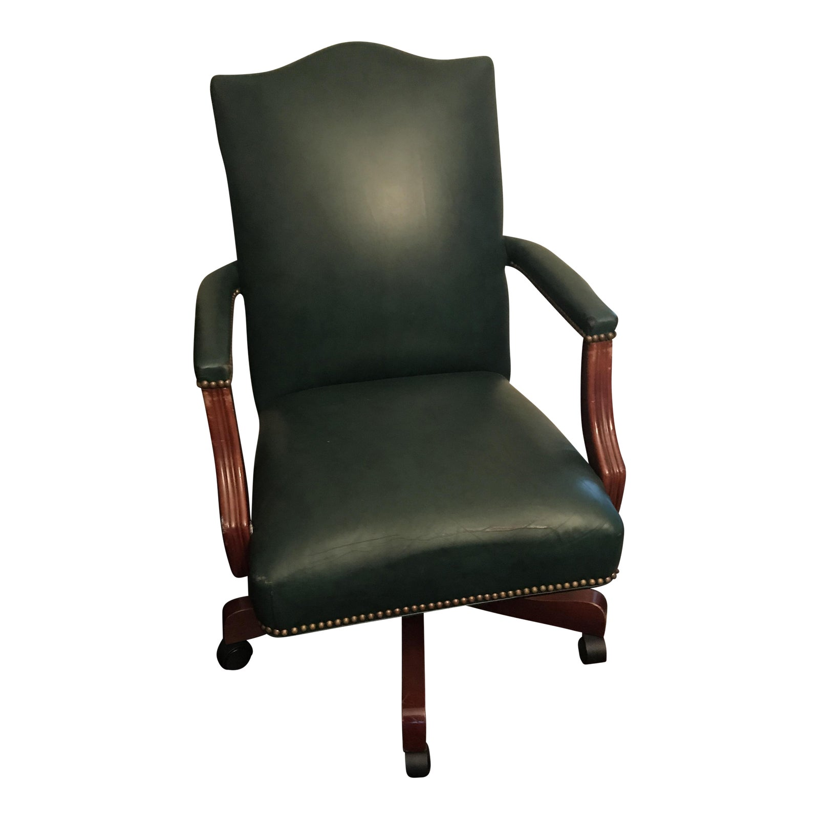 Ethan Allen Quot The Lee Quot Rolling Dark Green Leather Desk Chair Chairish