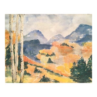 1960s Vintage Autumn Landscape Watercolor Painting For Sale