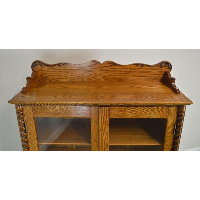 Wood Antique Victorian Oak 2 Door Bookcase For Sale - Image 7 of 12