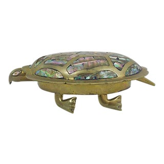 Inlaid Abalone Turtle Box For Sale