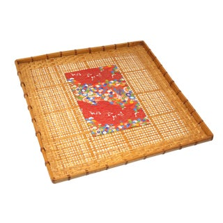 Vintage Large Woven Bamboo Wall Tray For Sale