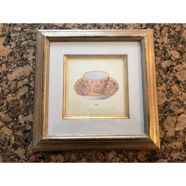 A set of 4 Trowbridge exquisite numbered square teacup prints, under glass. The gilt frames are exquisite. These are in...