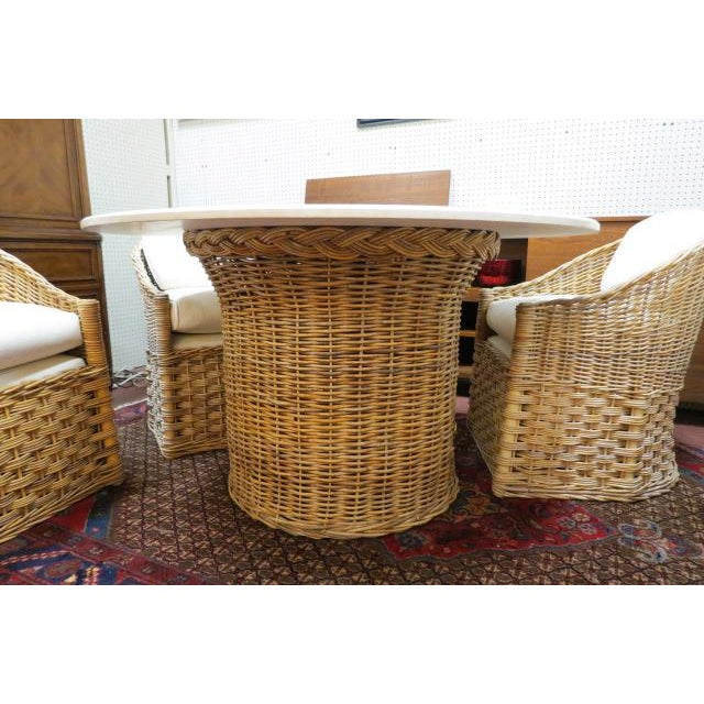 Boho Chic Vintage Boho Chic. Wicker Dining Set With Marble Top - 5 Pieces For Sale - Image 3 of 8