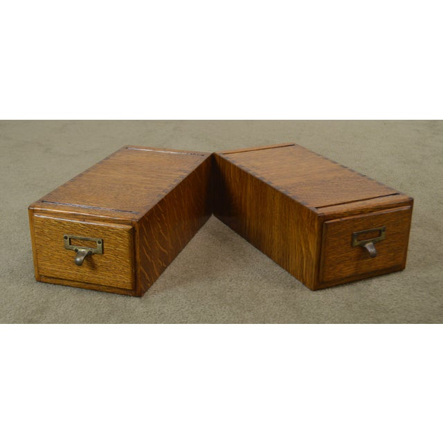 High Quality American Made Pair of Beautifully Restored Oak One Drawer Card Files with Dovetailed Cases