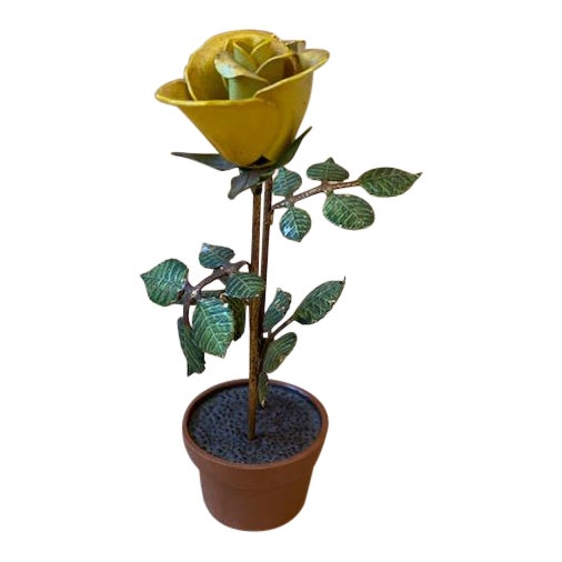 Vintage Italian Potted Tole Yellow Roses For Sale