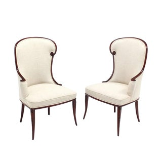 Pair of Antique Carved Mahogany Fireside Chairs with New Upholstery