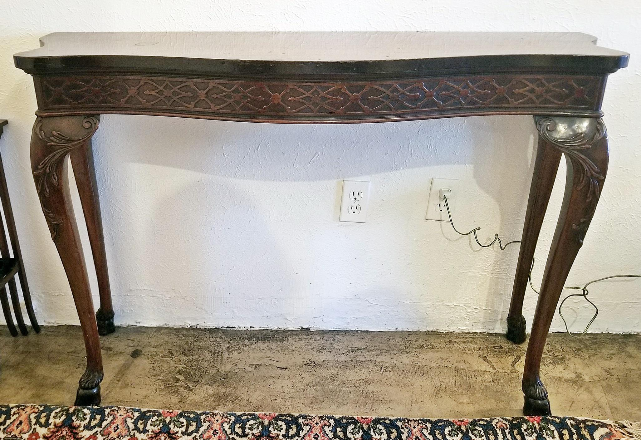 Early 20th Century Chinese Chippendale Style Hoof Feet Console Table For  Sale   Image 13 Of