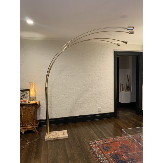 Vintage Mid-Century Modern Marble Base Brass-Plated Four-Arm Arc Lamp For Sale - Image 13 of 13
