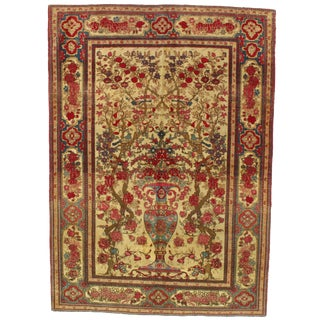 Late 19th Century Antique Persian Isfahan Rug - 6′6″ × 6′8″ For Sale