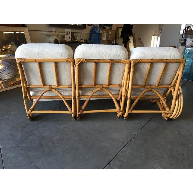Restored 3/4 Round Pretzel Rattan Three Seater Sofa With Two Tier Table For Sale - Image 10 of 11