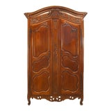 Image of French Provincial 18th Century Walnut Carved Two-Door Armoire For Sale