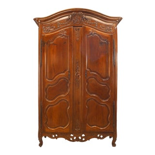 French Provincial 18th Century Walnut Carved Two-Door Armoire For Sale