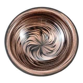 Copper Swirl Murano Bowl For Sale