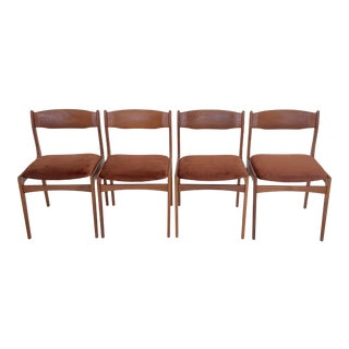 1960s Vintage Danish Modern Teak Dining Chairs- 4 Pieces For Sale