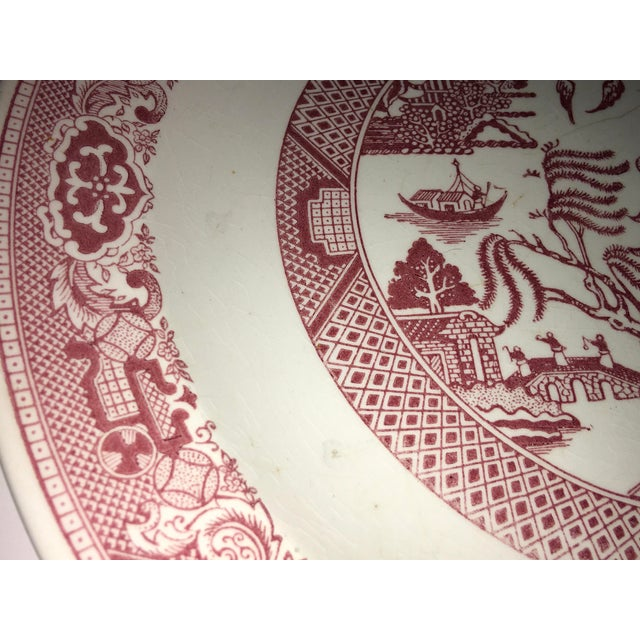 1970s Vintage Willow Ware Red & White Porcelain Plate For Sale In New York - Image 6 of 10