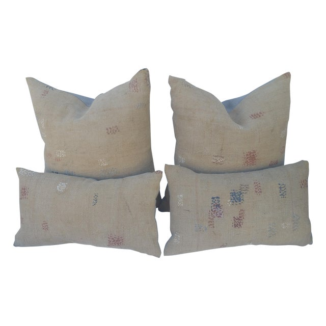 Antique Darned Repaired Grain Sack Pillows - Image 1 of 3