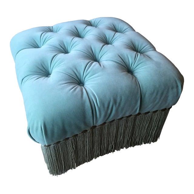 Aqua Velvet Ottoman With Fringe - Image 1 of 7