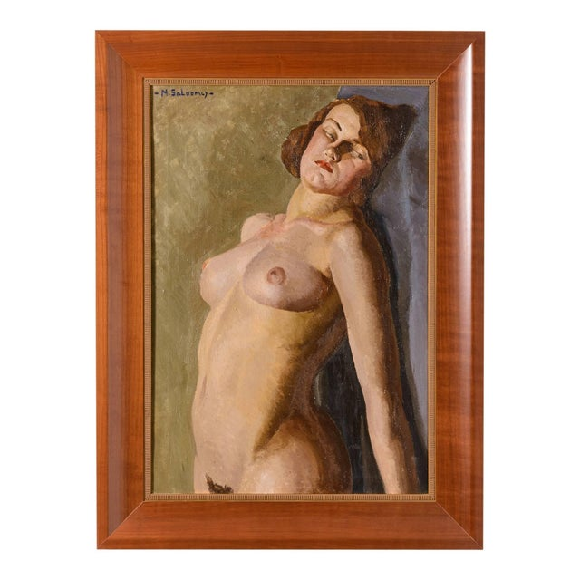 """Canvas Art Deco """"Female Nude"""" Oil Painting by Mabel Kaiser Saloomey For Sale - Image 7 of 7"""